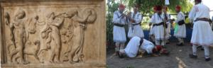 Procesiune dionisiaca cu satiri si menada si Calusari din Giurgita, Dolj